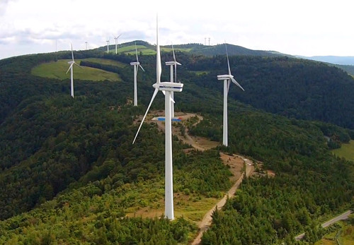 上外川高原風力発電所を空撮動画