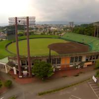 岩手県営野球場を空撮動画