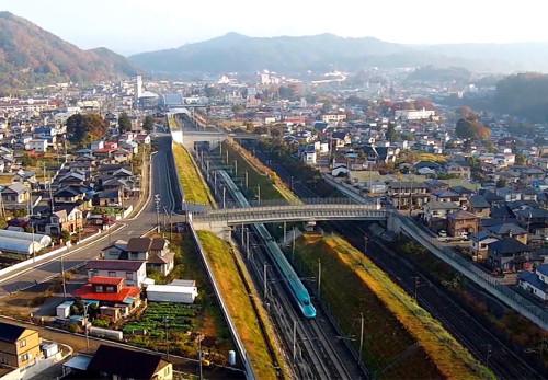 東北新幹線二戸駅附近を空撮動画