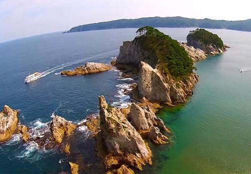 浄土ヶ浜を空撮動画