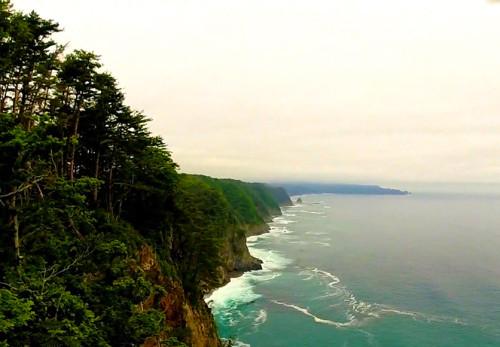 鵜の巣断崖を空撮動画