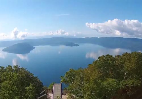 十和田湖-御鼻部山展望台の空撮動画を