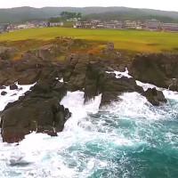 種差海岸を空撮動画